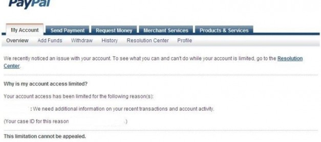 Paypal : This limitation cannot be appealed.