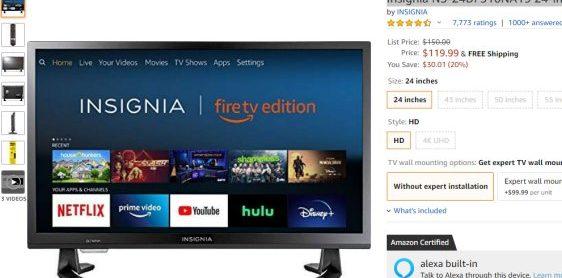 TV 가 $119 라니  – 아마존 Insignia 24-inch 720p HD Smart LED TV- Fire TV Edition