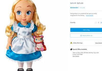 디즈니 – 장난감 추가 20% 할인 (~현지 금요일까지)